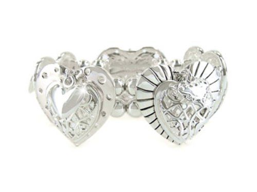 Heart Stretch Bracelet C26 Detail Polished Silver Tone Re... www.amazon.com/...
