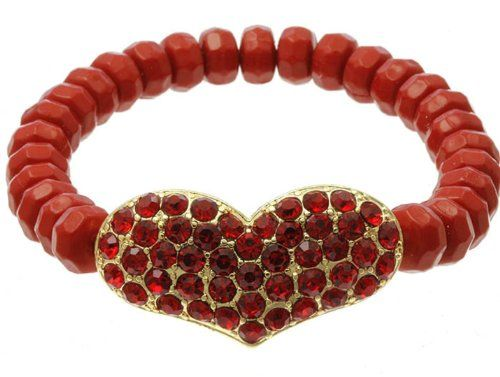 Heart Stretch Bracelet Red Crystals C02 Stone Beads Gold ... www.amazon.com/...