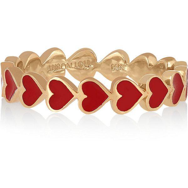 Alison Lou Heart 14-karat gold enamel ring ($1,580) ❤ liked on Polyvore featur...