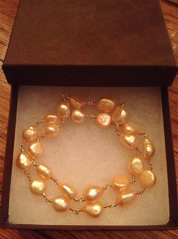 Apricot Baroque Pearl Bangle Bracelet on 14K GF Wire by FMBdesigns, $150.00