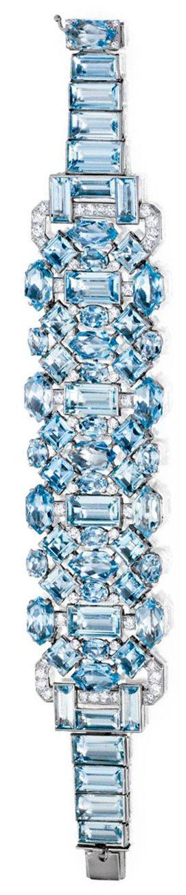 Art Deco aquamarine and diamond bracelet by Cartier, circa 1930. Via Diamonds in...