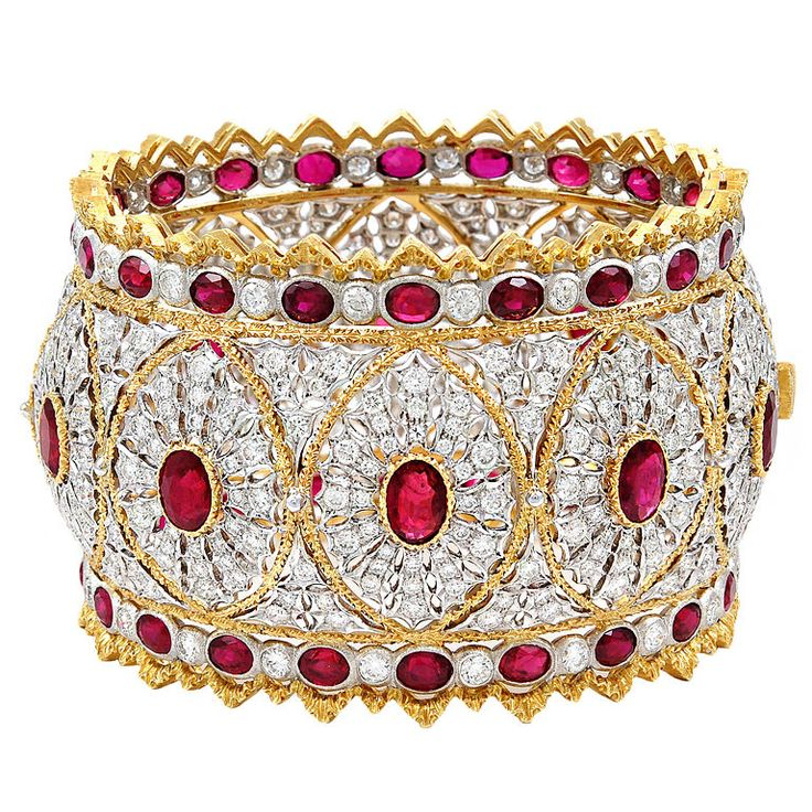 BUCCELLATI Diamond Ruby Bangle. I could get over the fact that wide bangles are ...