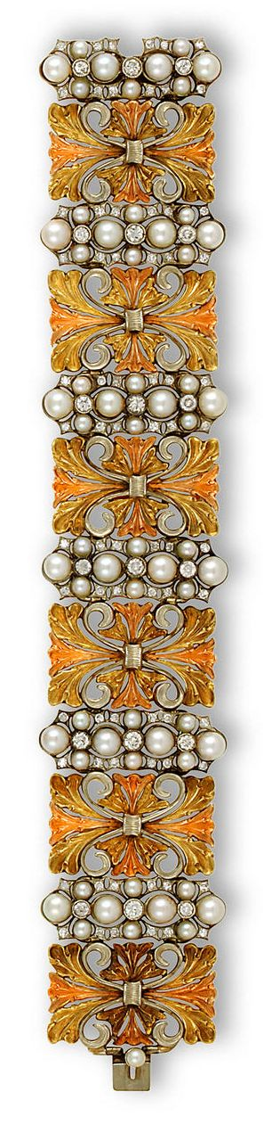 Buccellati 18K tricolor gold, cultured pearl and diamond bracelet
