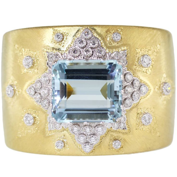 Buccellati Aquamarine Diamond Gold Wide Cuff Bracelet. An 18 karat yellow and wh...