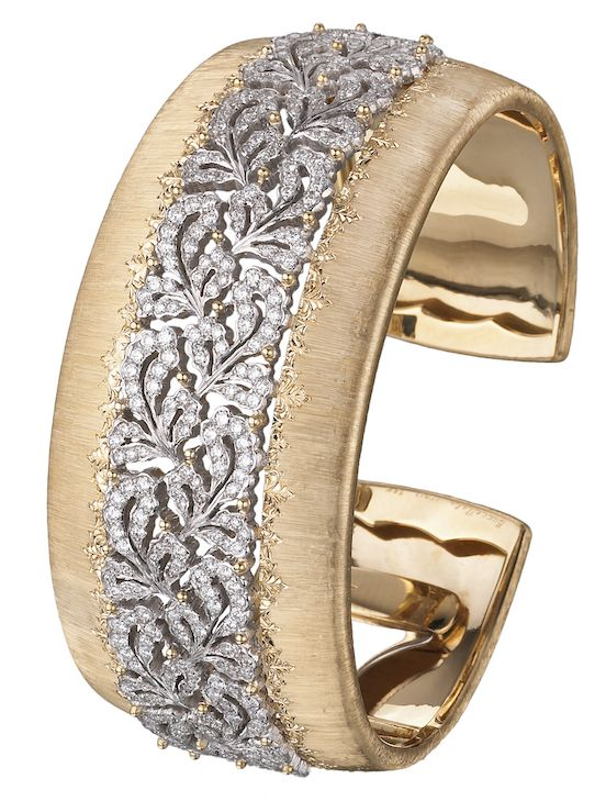 Buccellati Dream Cuff Bracelet in yellow and white gold with sapphire and diamon...