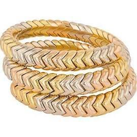 Bvlgari Estate Spiga 18k 750 Yellow Gold Tri-colored Wrap Bracelet