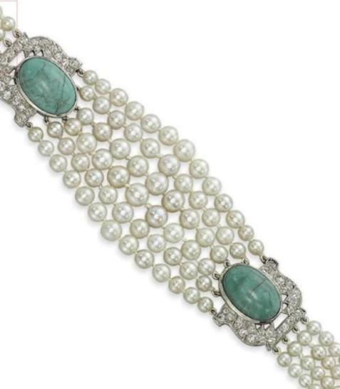 Cartier's Art Deco Pearl Diamond and Turquoise Bracelet
