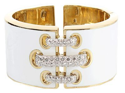 David Webb White Enamel Bracelet with Diamond Shoe Lace Detail
