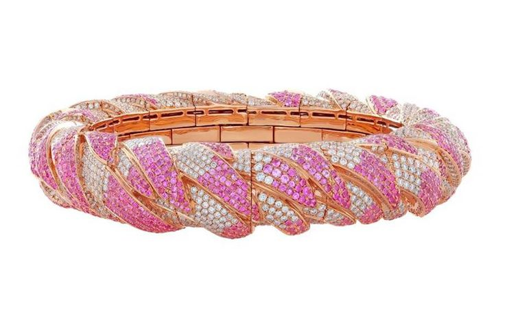 Flamingo Embrace bangle in 18-carat rose gold with pink sapphires and white diam...
