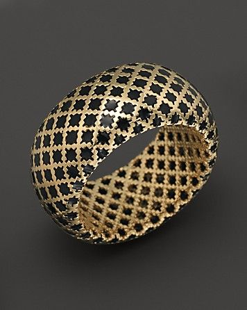 Gucci 18K Yellow Gold Diamantissima Ring With Black Enamel - Rings - Shop by Sty...