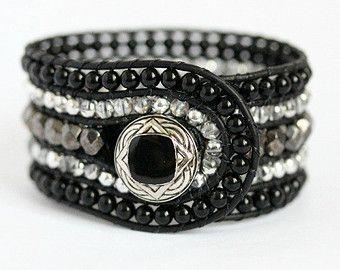 Hematite Beaded Leather Cuff, 5 Row, Wrap Bracelet, Black, Charcoal, Silver, Han...