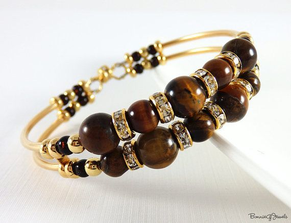 Memory Wire Bracelet - Tiger Eye Bracelet - Tube Bracelet - Good Luck Stone - Ge...