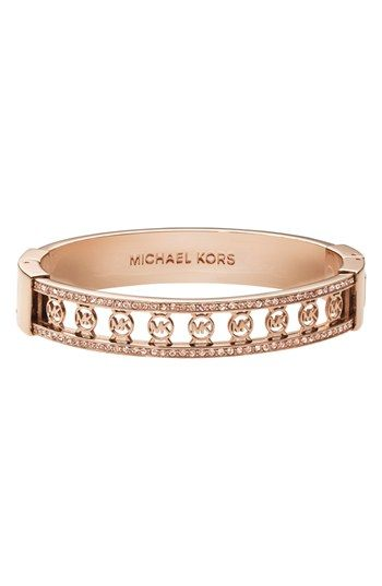 a042b4a84de8 Bracelets Ideas Michael Kors Monogram Logo Hinged Bangle