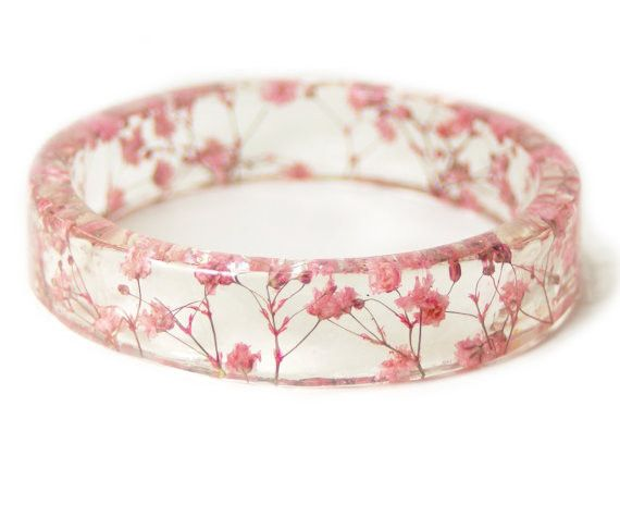 Bracelets Ideas Pink Flower Resin Bangle Tiny Real Flowers Set Inside Clear Resin This Is Se Zepjewelry Com Home Of Jewelry Inspiration Ideas Trends To Shop Right Now
