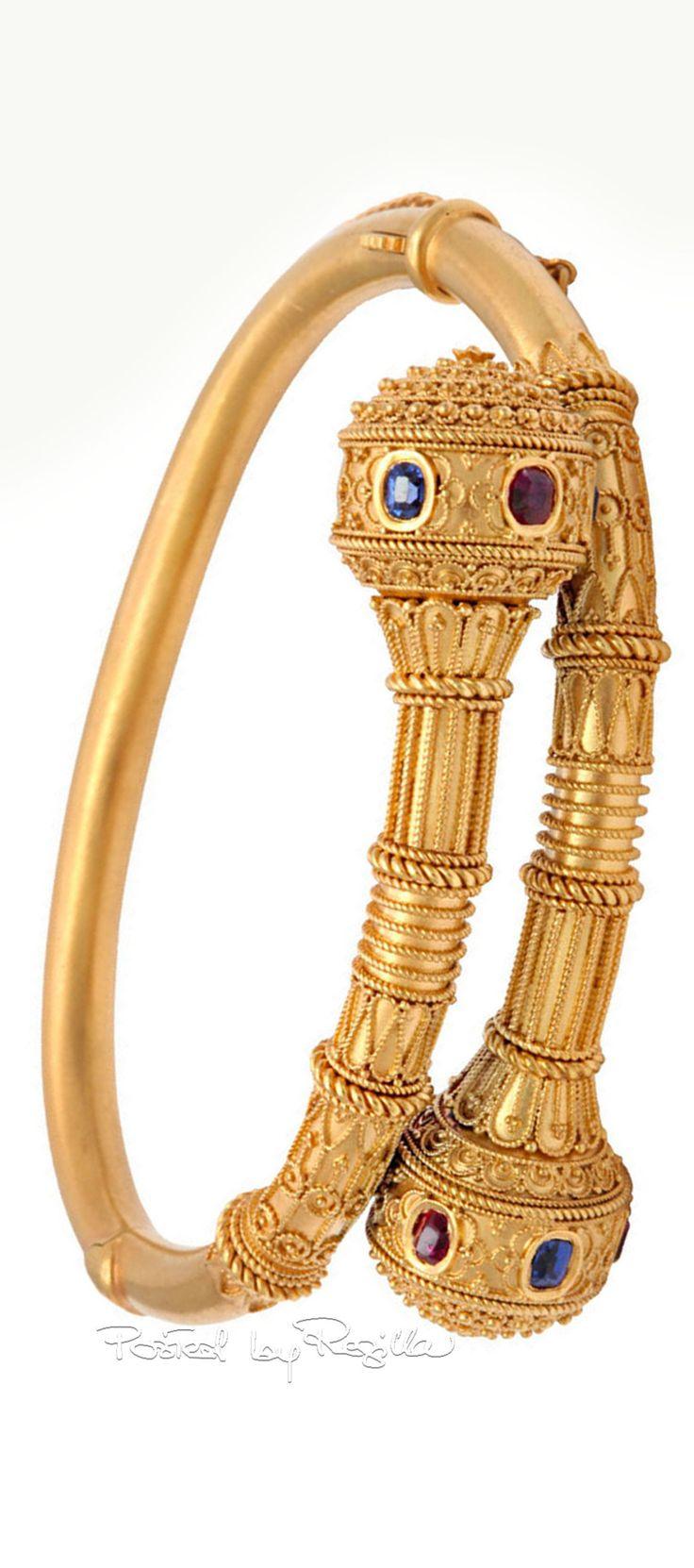 Regilla ⚜ Victorian Gem Set Granulated Etruscan Revival Bracelet