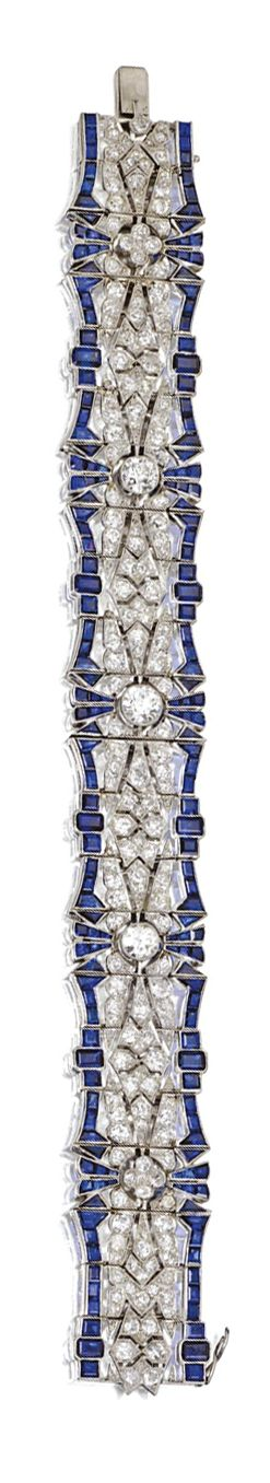 SAPPHIRE AND DIAMOND BRACELET, CIRCA 1925/ The flexible openwork strap set with ...