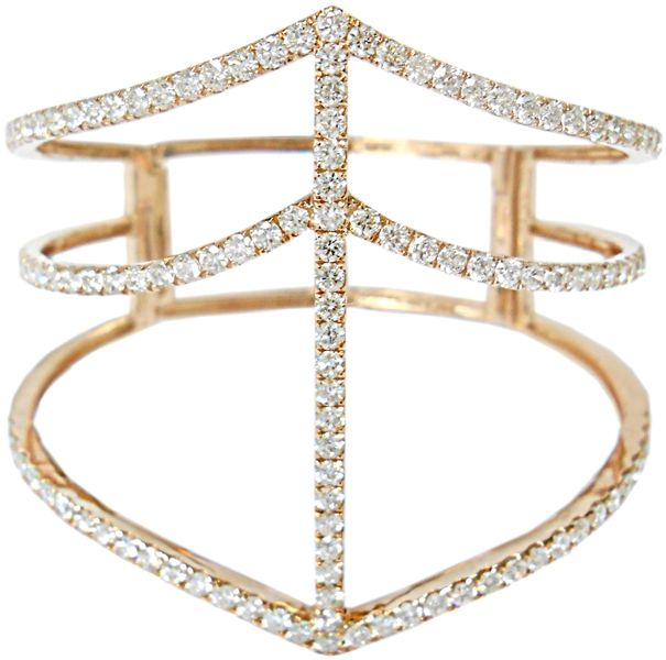 Shay Jewelry diamond cage cuff bracelet