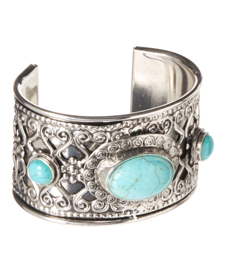 Silver & Turquoise Cabochon Cuff | zulily