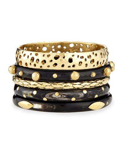 Y2FZN Ashley Pittman Nadra Dark Horn Bracelets, Set of 5