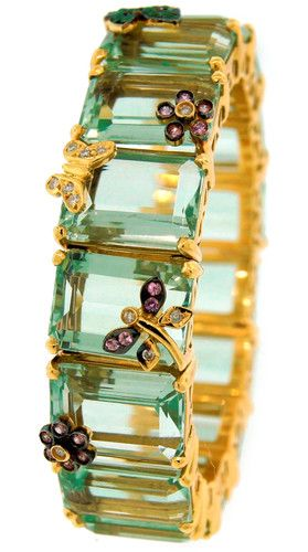 estate bracelet in 18k yellow gold with lemon citrines, pink & white sapphires, ...