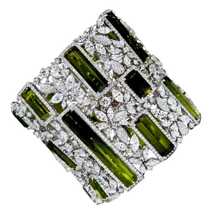 vintage peridot diamond cuff - 1st dibs
