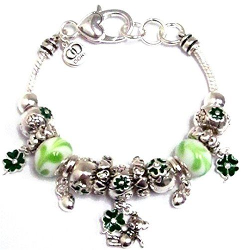 Irish Charm Bracelet BE Green Murano Beads Crystal Shamro... www.amazon.com/...