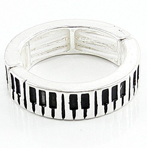 Keyboard Stretch Ring C22 Piano Silver Tone Recyclebabe R... www.amazon.com/...