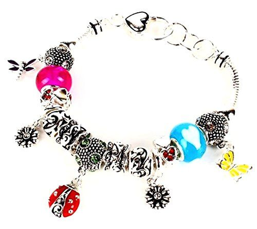 Ladybug Insect Charm Bracelet Z4 Dragonfly Butterfly Flow... www.amazon.com/...