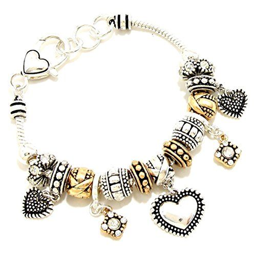 Love Charm Bracelet BH Hearts Clear Crystal Two Tone Anti... www.amazon.com/...