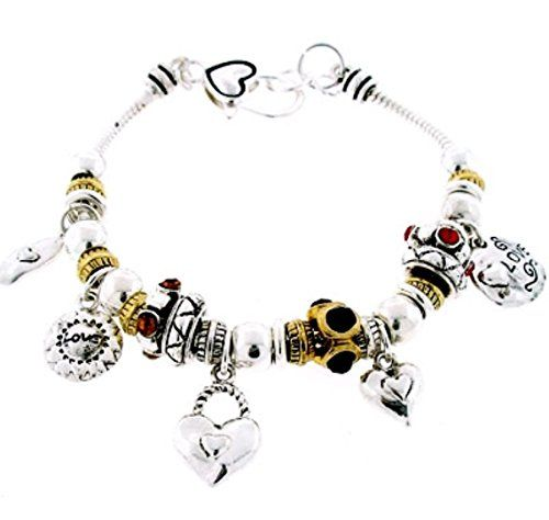 Love Charm Bracelet Z7 Hearts Red Black Yellow Crystal Tw... www.amazon.com/...