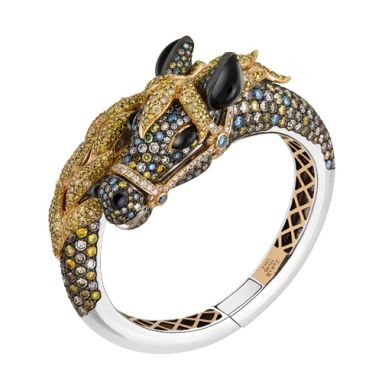 Magnificence Horse Bangle  Featuring black, brown, white, yellow and fancy diamo...