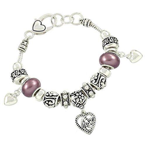 Mom Heart Charm Bracelet Z12 Pearl Purple Murano Beads Si... www.amazon.com/...