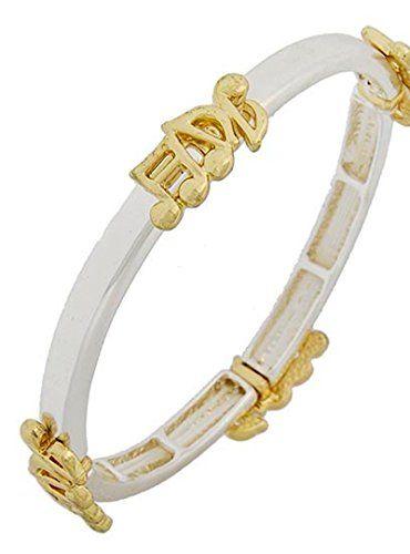 Music Note Bracelet Z5 Stretch Bangle Silver Gold Tone Re... www.amazon.com/...
