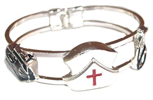 Nurse Hinged Bracelet C19 Cap Medical Bag Stethoscope Sil... www.amazon.com/...