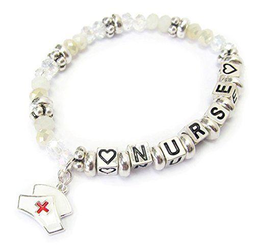 Nurse Stretch Charm Bracelet D1 Glass Beads Silver Tone M... www.amazon.com/...