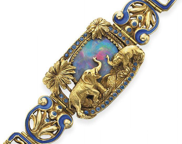 Opal, gold and enamel bracelet.