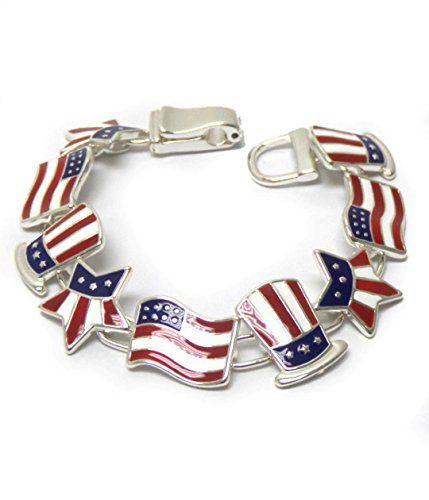Patriotic Charm Bracelet BK Enamel Flag Stars America Mag... www.amazon.com/...