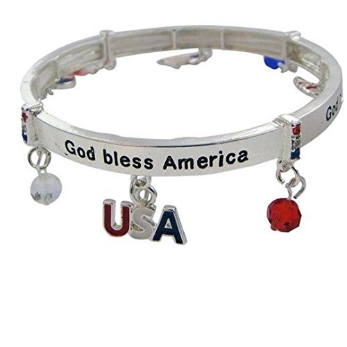 Patriotic Stretch Charm Bracelet BD American Flag Heart B... www.amazon.com/...