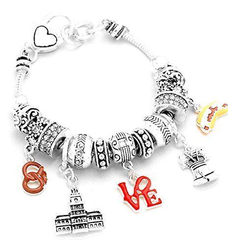 Philadelphia Charm Bracelet Z11 Clear Crystal Liberty Bel... www.amazon.com/...