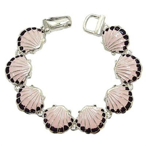 Pink Clam Shell Charm Bracelet BI Magnetic Clasp Link Sil... www.amazon.com/...