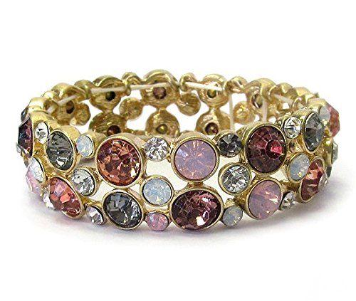 Pink Purple Stretch Bracelet BS Round Crystal Glass Stone... www.amazon.com/...