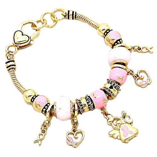 Pink Ribbon Angel Charm Bracelet BN Milky White Murano Glass Beads Hope for the ...