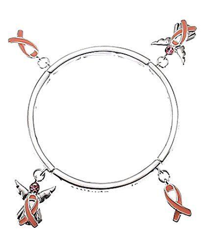 Pink Ribbon Stretch Bracelet H5 Crystal Angel Silver Tone... www.amazon.com/...