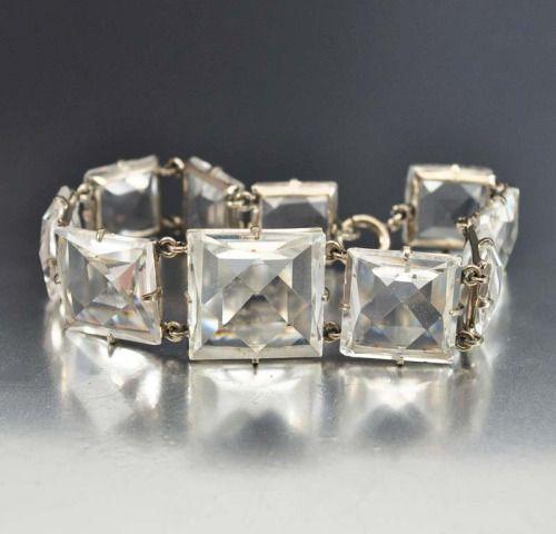 Rock Crystal Quartz Art Deco Bracelet