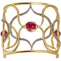Rubellite, diamond and gold bracelet.