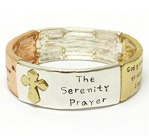 Serenity Prayer Bracelet Stretch C50 Silver Copper Gold I... www.amazon.com/...