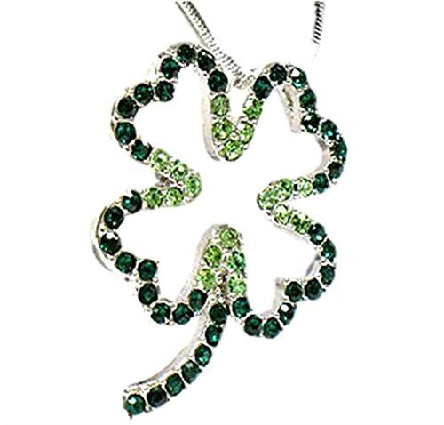 Shamrock Necklace Z5 Ombre Green Crystals Open Design Rec... www.amazon.com/...