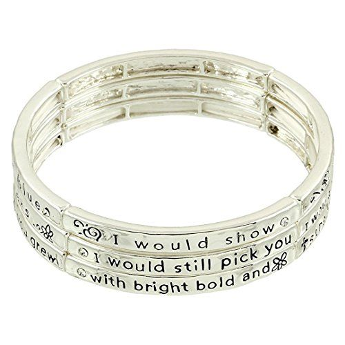 Sister Stackable Bracelet Z2 Clear Crystal Stretch Bangle Rhodium Recyclebabe ww...