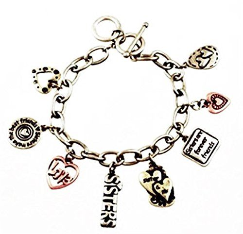 Sisters Are Special Charm Bracelet Tri Tone H2 Charms and... www.amazon.com/...