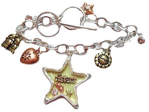 Sisters Charm Bracelet G12 Tri Tone Unique Star Heart Rec... www.amazon.com/...
